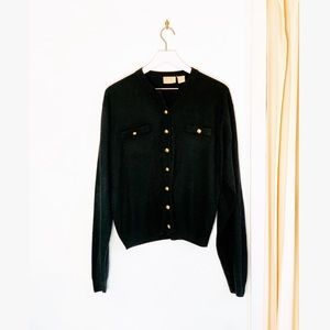Vintage Gold Boucle Button Down Black Cardigan